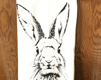 Rabbit Hare Bunny Portrait Easter Woodland Dish Towel Flour Sack Tea Towel
