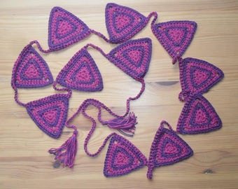 Purple and Pink crocheted bunting