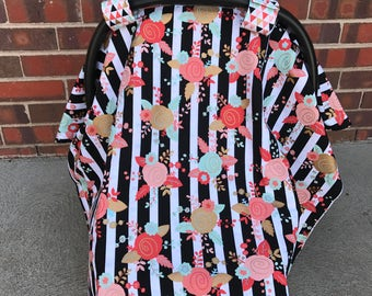 Mint & Coral Floral Carseat Cover