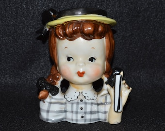 Napco Head Vase, Girl in Gingham with Pigtails, Napco Planter, Napco Girl with Pigtails Planter, Hand Painted Napco Vase, Missing Parosol