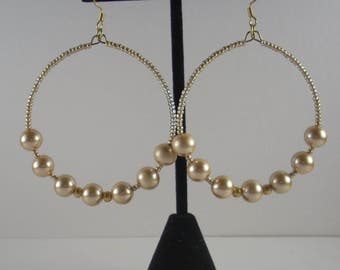 Golden Bead large hoops