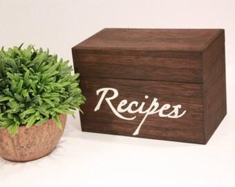 Wooden Recipe Box - Handmade, Housewarming Gift, Kitchen Decor, Kitchen Storage, Recipe Cards, Recipes