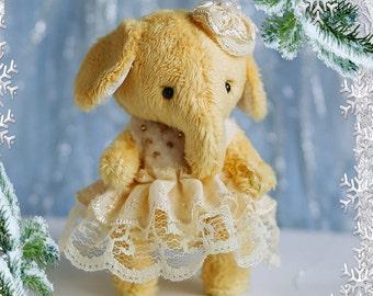 "Teddy elephant new year ooak 4"". Handmade"
