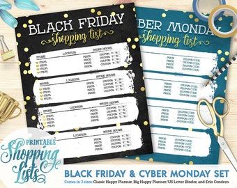 50% OFF Printable Black Friday/Cyber Monday Shopping List | Happy Planner | Erin Condren | U.S. Letter Binder | Instant Download