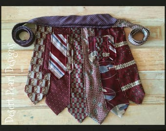 Burgundy tie vendor apron, silk tie half apron, vintage tie utility apron, two pocket apron, waitress apron, sellers half apron, craft apron