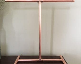 Copper pipe Jewellery stand, Jewellery display, Jewellery T-bar stand, Jewellery   Suradesires