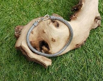 Heavy Handmade fancy unusual silver bracelet