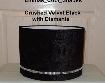 Handmade Lampshade - Crushed Velvet Lampshade Black Fabric with Diamante - Drum Bespoke