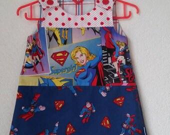 A line dress pinafore Superman meets Supergirl Wonder woman Bat girl kleid size 3-4