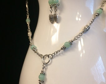 Owls and Aventurine Beaded Chain Necklace and Earrings