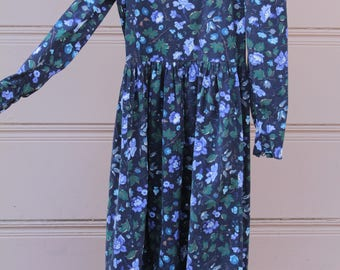 Vintage Laura Ashley Floral Corduroy Dress