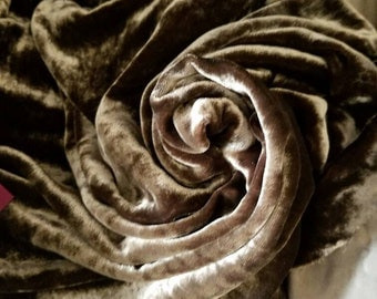 Dark Olive Silk velvet Natural fiber & High end by the yard
