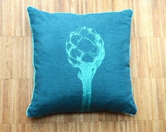Cozy decor, cushion with turquoise artichoke illustration, pure linen in the front and cotton velvet in the back, 40 cm x 40 cm