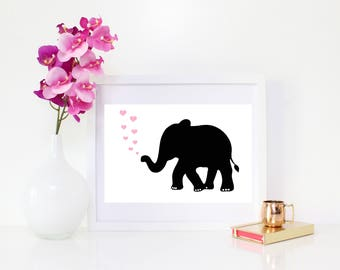 DIGITAL DOWNLOAD, Elephant Art, Cute Elephant Art, Elephant Hearts Art, Nursery Art, Elephant