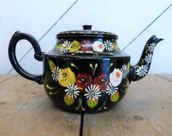Vintage Bargeware-Style Decorated Teapot - Canalware style Teapot (Stock#6579)