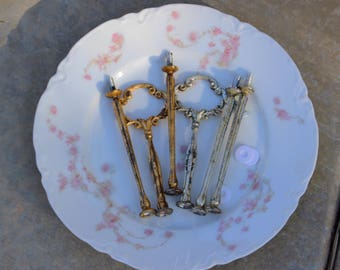 Gold Leaf Silver Leaf Hardware for 3 Tier Dessert Stand or Cake Plates