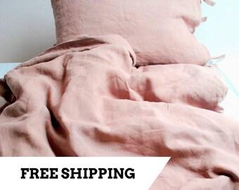 Linen Duvet Cover 100% Stonewashed Linen, Pink Rose