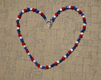 Red, White and Blue Beaded Necklace made with Red Coral Beads, White Glass Cateye Beads and Blue Lapis Chips