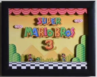 """Super Mario All Stars (SNES) - """"Super Mario Bros 3""""  3D Video Game Shadow Box with Glass Frame"""