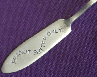 hand stamped silver plate butter knife spreader peanut butter only