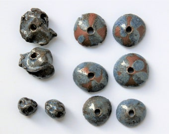 Set of 10 rustic beads, textured, bell beads, blue, brown, misshapen, ethnic, tribal, ceramic, pottery beads, art beads