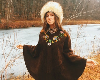 70's deep brown suede poncho with floral embroidery