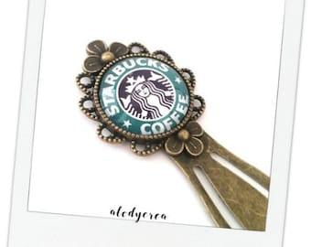 Bookmark • Starbucks Coffee• cabochon glass • bronze