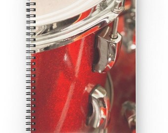 Red Drum Notebook, Music Journal, Red Music Gift for Musician, Diary, Red Spiral Notebook, Musical Instrument Photo, Photo Notepad