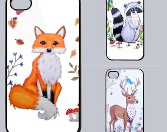 Woodland creatures, fox Phone case, iphone case, Samsung case, smartphone gift, animal print, fox print, deer, raccoon, Cute animal phone