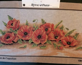 """Royal Paris canvas antique """"Sheaf of poppies"""" red poppies flowers flowers 138 10 53 cm x 27 cm new"""