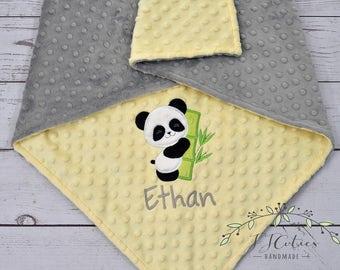 Personalized Baby Blanket-Panda baby blanket-Panda Minky blanket-Personalized Minky Blanket-Minky Girl baby blanket-Panda Boy Blanket