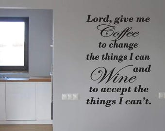 Kitchen Coffee & wine Lord Home decor vinyl Wall Decal Sticker Mural dining room family words cheap kitchen living room free shipping