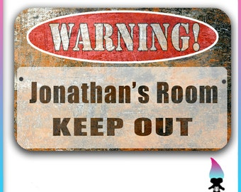 Personalized - Kids Room Sign -Warning sign - Bedroom Sign - Metal sign - Keep out - Keep out Room sign