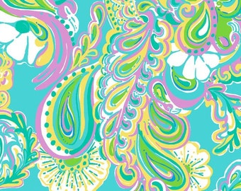 """9""""x9"""" Shorely Blue DOUBLE TROUBLE Lilly Pulitzer Fabric"""