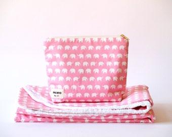 Baby cotton BLANKET, COSMETIC BAG or Set White elephants