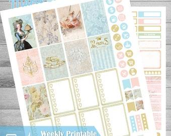 Happy Planner Stickers, Printable planner stickers, Victorian style, Vintage Planner Stickers, Marie Antoinette, Renaissance era, Mambi,