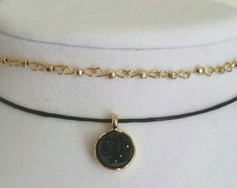 Black and Gold Choker Pair