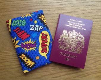 Comic Pow Zoom Fabric Passport Cover / holder / Case.  To hold 2 passports or cover 1. Fabric Design requests taken.  Blue Red Yellow