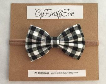 Black Plaid baby bow nylon headband   baby bow   baby headband