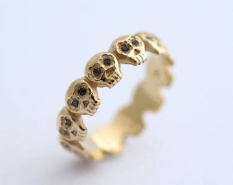 Skull Engagement Ring, Gothic Engagement Ring, Diamonds Skull Ring, 14K Skull Wedding Ring, Black Diamond Engagement Ring,  Skull Band