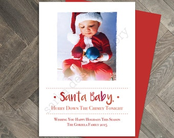 Printable Christmas Holiday Card • Santa Baby Photo Card  • Custom Seasons Greetings Card • SARKA DESIGN THEORY