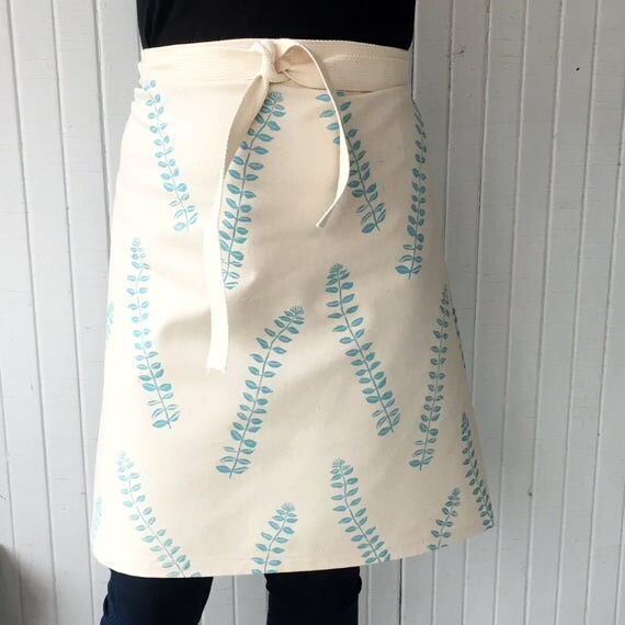 Cafe apron, canvas apron, organic cotton, gift for cook, gift for baker, cottage apron, housewarming, teal, turquoise, blue, robins egg blue