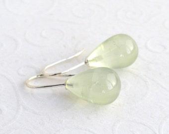 Green Prehnite 925 Sterling Silver earrings, smooth drop earrings, celery green, pastel colours, soft green