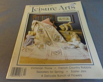 Leisure Arts, Craft Magazine Back Issue, April 1988, Cross Stitch, Crochet, Knitting, Sewing, Painting