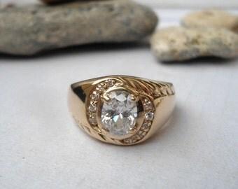 Men's ring, Gold ring, 14 K gold ring, Gold ring with zircons, men's gold ring, handmade gold ring