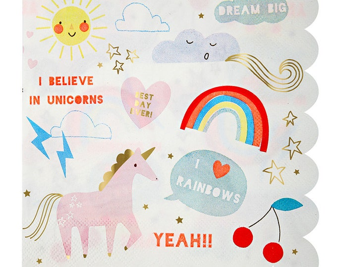 Rainbow Unicorn Dinner Napkins by Meri Meri