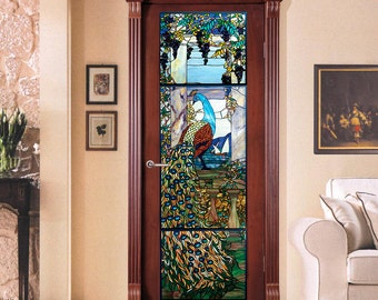 """Vinyl Sticker *Door with a Stained Glass Peacock* / Self-Adhesive Vinyl Decal Poster Mural / 20""""w x 75""""h (51 x 191cm)"""