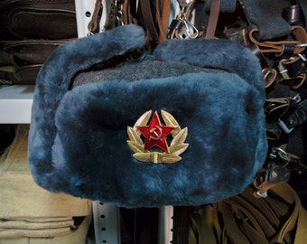 Sheepskin Fur, Authentic Soviet and Russian Gray Army Hat Ushanka, Free Shipping