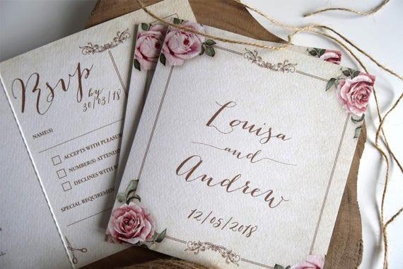 Vintage Floral Framed Landscape Wedding Invitation Sample (Ivory)