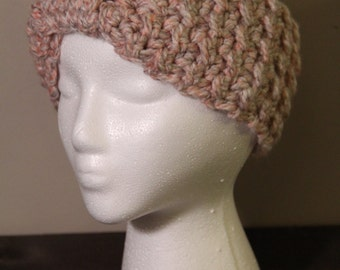 Pink & Grey Crocheted Ear Warmer Headband